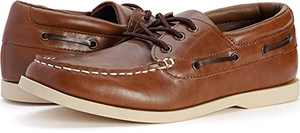 WHITIN Men's Casual Slip-On Boat Shoes Slip Resistant Waterproof Moc Toe Deck Shoes Size 12 Indoor Outdoor Moccasins Loafers for Male Business Work Office Dress Shoes with Arch Support Brown 46