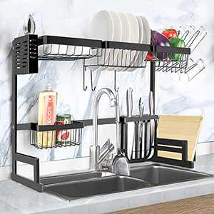 Over The Sink Dish Drying Rack, 2 Tire Stainless Steel Large Dish Racks for Kitchen Counter, Length Adjustable Dish Drainers with Utensil and Chopstick Holder (Sink Size≤36 INCH)-Black