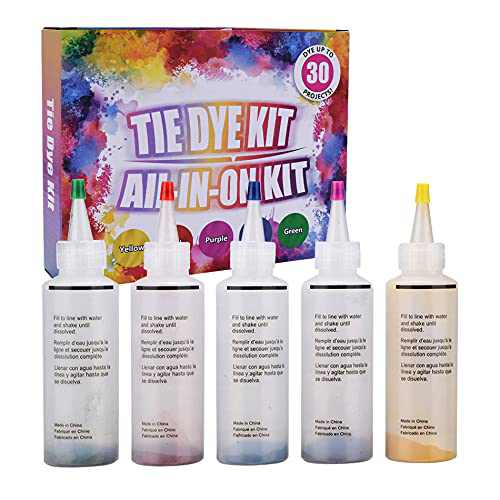 Behomy Tie-Dye Kit   Fabric Dye, 5 Colors Shirt Dye Kit for Kids, Adults, User-Friendly, Activities Supplies DIY Dyeing Kit, All in One Creative Tie-Dye Kit Perfect for Party Group (5 Colors)