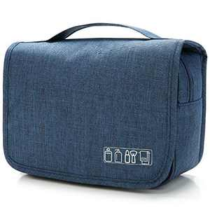 Hanging Toiletry Bag for Men & Women, Portable Waterproof Bathroom Shower Bag, Lightweight Dopp kit Shaving Bag, Sturdy Hook Organizer Makeup Bag(Navy Blue)
