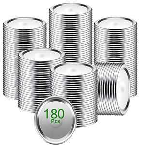 JHWVVTF Canning Lids,180-Count Mason Jar Lid [Regular Mouth],Split-Type Simple Thickened Metal Seals Lids for Home Kitchen & Dining,Food Grade Material (Silver, 180)