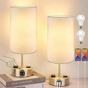 Touch Control Table Lamp Set of 2, 3-Way Dimmable Bedside Nightstand Lamps with 2 USB Ports & 2 AC Outlets, Modern Tabletop Lamps with White Shades, Desk Lamp for Bedroom Living Room, 2 Bulbs Included