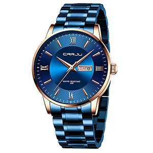 CRRJU Luxury Men's Waterproof Japan Movement Quartz Dress Watches,Elegant Calendar Blue Stainless Steel Solid Band Round Watch