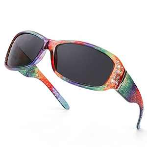 IGnaef Rhinestone Polarized Sunglasses for Women, 100% UV400 Protection Driving / Fishing / Shopping Women Sunglasses (A9Rainbow Frame/Polarized Lens)