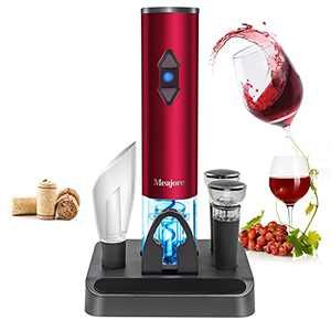 5 in 1 Electric Wine Opener Gift Set,Cordless Automatic Wine Bottle Opener Deluxe Bar Kit,Equipped with Automatic Bottle Operated Bottle Openerm,Foil Cutter,Wine Pourer,Vacuum Stoppers& Stand (Red)