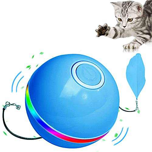 Interactive Cat/Dog Toy Ball Self Rotating Cat Ball with LED Light & Catnip,Ring Bell Feather Toy,Rolling Spinning Smart Pet Toys,USB Rechargeable Ball for Cats/Dog Kitty Funny Chaser(Blue)