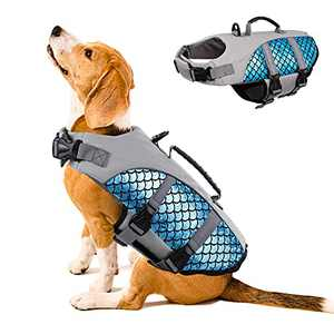 Dog Life Jacket, Dog Life Vest, Pet Safety Coat, Reflective Adjustable Puppy Lifesaver with Rescue Handle, Ripstop Safety Swimsuit for Small to Large Dog in Pool Beach Lake Kayak Boat Swimming Surfing