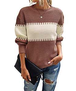Womens Color Block Knit Sweater Long Sleeve Crewneck Loose Jumper Pullover Tops Coffee