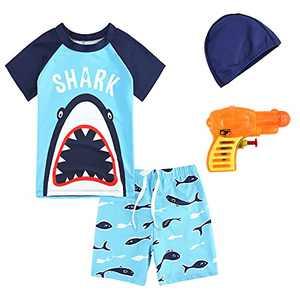ZukoCert Boys Sunsuit Swimwear Sets Kids Short Sleeve 2 Piece Rash Guard Swimsuits 2-10 Years Surfing Swimsuits for Boys(01ZMSY-L)