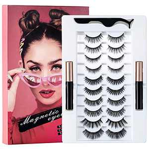Magnetic Eyelashes with Eyeliner Kit - Natural Look and Mink Magnetic Lashes with Applicator 3D Reusable False lashes, No Glue Need (10 Pairs)