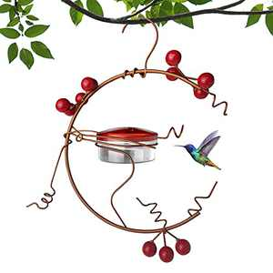 Hummingbird Feeders for Outdoors, Red Berries Hummingbird Feeder Hanging-3.4Oz Metal Copper Bird Feeder with 4 Feeding Hole Ports-Fruit Berry Bird Feeders for Outdoor Garden Backyard Courtyard Tree