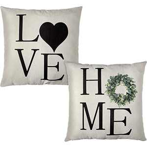 2 Pieces Home Love Decorative Throw Pillow Covers Farmhouse Linen Pillow Cover Rustic Home Love Letter Cushion Covers for Housewarming Presents Couch Sofa Bed Bedroom, 18 x 18 Inch