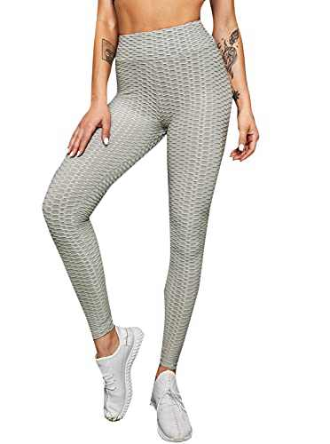 DIDK Women's High Waisted Yoga Pants Workout Tummy Control Sport Tights Grey S