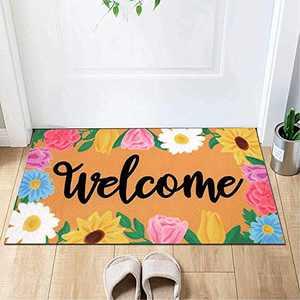 Spring Welcome Doormat- Flower Door Mats-Floor Mat Bathroom Doormat Rugs for Indoor, Outdoor, Front Door, Entry Way, Porch, Garage(17.72''29.53'')