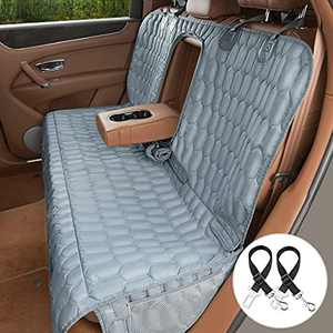 OKMEE Bench Dog Car Seat Cover 100% Waterproof Compatible for Middle Armrest, Non-slip Bench Dog Seat Cover Protector for Back Seat with Mesh Storage Bags for Cars Trucks SUVs