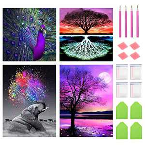 5D Diamond DIY Painting Kits for Adults, 4 Pack Full Drill Colorful Tree Animals Shape DIY Painting by Number Kits, Rhinestone Pasted Embroidery Cross Stitch Arts Crafts for Home Wall Decor