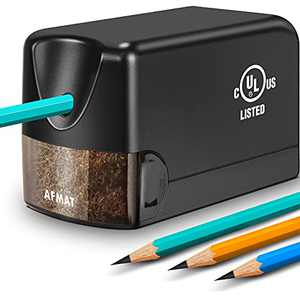 Electric Pencil Sharpener Heavy Duty, AFMAT Pencil Sharpener Electric for Classroom, UL Listed Plug in Pencil Sharpener for 6.5-8mm No.2/Colored Pencils, w/Upgraded Helical Blade(Sharpen 10000 Times)
