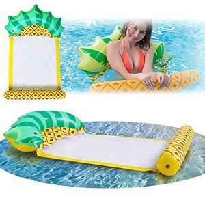 Gian Inflatable Pineaplle Pool Float Hammock with Fast Valves Portable Floaties for Adult Kids Fun Summer Beach Swimming Water Toys Lounger Rafts Floating Tube for Lake | River | Sea | Pool for Age 3+