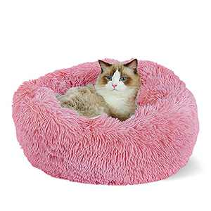 """Anti-Anxiety Donut Bed, Pet cat Bed Dog Bed,Soft Plush pet mat ,Fall/Winter,Indoor Sleeping, Improve cat Sleep, Self Warming - Non-Slip Bottom - Washable - Small and Medium (S(19.7"""" Dx7.9"""" H), Pink)"""