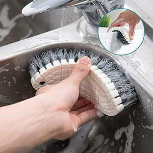 Kitchen Blade Brush Knife Scrub Brush for Cleaning,Chopsticks and Fork Cleaning Brush Cutlery Cleaner Utensil Scrubber Double Sided Spoon Knives Washing Brush(Folded Gray)