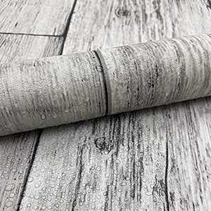 """Wood Contact Paper Grey Plank Wallpaper Stick and Peel Wallpaper 15.7""""x 197""""Contact Paper Self Adhesive Removable Home Wall Paper Decoration Desk Furniture Cover Waterproof"""