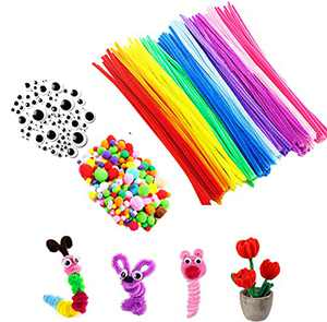 DDMY 330 Pieces Pipe Cleaners All in one Craft Set, 6mm x 12 inch Chenille Stems, Pom Poms, Self Adhesive Wiggle Googly Eyes Assorted Sizes for DIY Art Creative Crafts Decorations