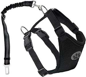 Dog Seatbelt,Dog Car Harness No Pull Dog Harness,2021 Wear-Resistant Car Vehicle Connector Strap for Dogs with Pet Harness Double Breathable Mesh Fabric Vest