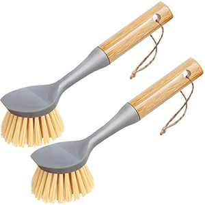 Dish Brush,Cast Iron Brush with Bamboo Handle Built-in Scraper,Scrub Brush for Dishes,Pans,Pots,Kitchen Sink Cleaning,Pack of 2