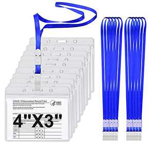 10 Pack - Clear Vinyl Plastic ID Card Badge Holders Card Holder,4X3 Card Holder with Lanyard,Waterproof Resealable Card Holder-Not Include Cards (10)