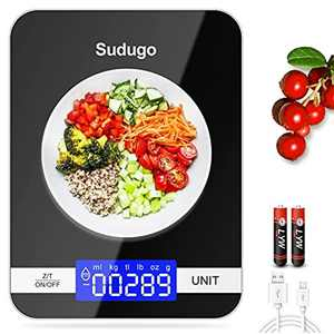 Sudugo Kitchen Scales, 22lb/10kg Digital Scales Kitchen Weight Grams and Oz, Food Scale for Baking and Cooking, Rechargeable Tempered Glass Platform Electronic Scales (Batteries Included) [2021 Ver]
