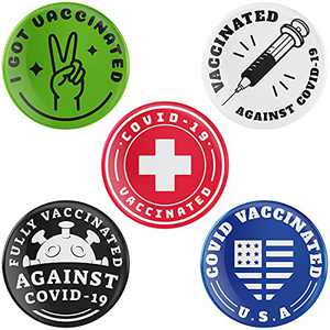 NBSK Vaccinated Pins 10 Packs, I Got Co-vid 19 Vaccine Pins Brooch, 1.5inch Round Co-vid Vaccinated Pins, Vaccine Memorial Button Pins for Men and Women