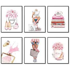 """Canvas Wall Art Prints Set of 6 Pink Flower Perfume Fashion Wall Pictures for Bedroom Decor Makeup Art Posters Girls Room Wall Decor (8""""x10"""" UNFRAMED)"""