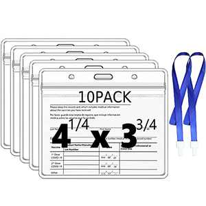 10 Pack CDC Vaccination Card Protector with 2 Lanyard, 4 X 3 Inches Immunization Record ID Card Holder, Plastic Clear ID Card Holder Name Tags Waterproof Badge Holders