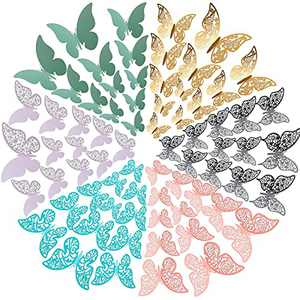 120 Pieces 3D Butterfly Wall Decals Removable Metal Butterflies Wall Sticker House Decoration Kids Room Bedroom Decor