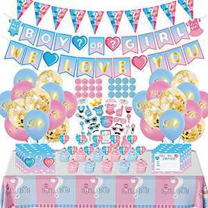 Gender Reveal Party Supplies, 104pcs Baby Gender Reveal Decorations Boy or Girl Banner, Voting Stickers Gender Reveal, Photo Props, Tablecloth, Invitation Card, Great For Gender Reveal Decorations