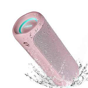 Bluetooth Speaker, IPX7 Waterproof Portable Wireless Speaker, 25W Loud Sound, Bassboom Technology, TWS Pairing, 16H Playtime, Speaker with Lights for Home Outdoors - Pink