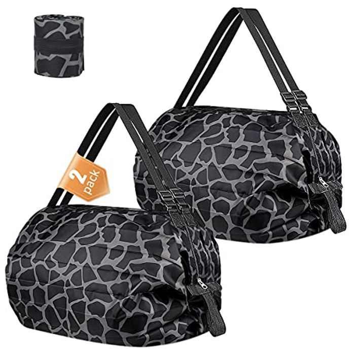 2Pcs Grocery Shopping Bags, Foldable Grocery Bags Heavy Duty Shopping Tote