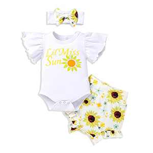 Baby Girls Sunflower Outfit Fly Sleeve Ruffle Romper Top Floral Shorts Bloomer (White, 9-12 Months)