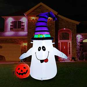 Cootway 4 FT Halloween Inflatables Outdoor Decorations, Inflatable Ghost Holds Pumpkin Witch Hat with Build-in LED Light, Blow Up Halloween Yard Inflatables for Patio Lawn Garden Holiday Party