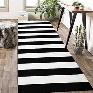 KOZYFLY Black and White Striped Rug Runner 2.3' x 6' Plaid Farmhouse Runner Rug Checkered Cotton Woven Washable Outdoor Rug Runner for Kitchen/Laundry/Bathroom/Bedroom/Living Room