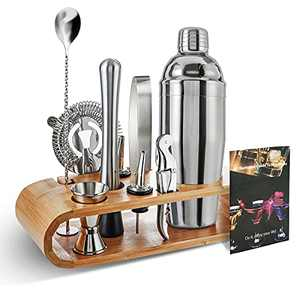Bartender Kit, Cocktail Shaker Set with Bamboo Stand, 24 oz Professional Stainless Steel Martini Shaker and Bartending Kit, 11-piece Bar Tools Perfect for Home