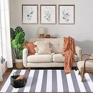 KOZYFLY Grey and White Striped Rug Runner 2.3' x 6' Plaid Farmhouse Runner Rug Checkered Cotton Woven Washable Gray Outdoor Rug Runner for Kitchen/Laundry/Bathroom/Bedroom/Living Room