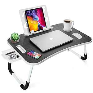 Laptop Desk for Bed, Krumowippi Lap Desks Bed Trays for Eating and Laptop Stand with Foldable Legs, Tablet Holder, Storage Drawer, Cup Holder, Book Stand, Bed Desk for Laptop and Writing in Sofa