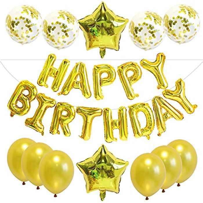 Gold Happy Birthday Balloons Decorations - 13pcs Birthday Balloons Set with Latex Balloons, Confetti Balloons, Self Inflating Balloons, Star Balloons for Boys Birthday Party Decoration (Gold)
