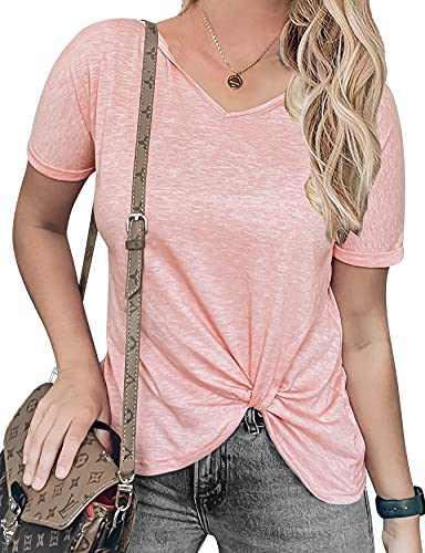 Chriselda Women's Twist Knot Tops Cute Knot Front Tees Short Sleeve T Shirts SummerTunic Tank Tee M Pink Medium
