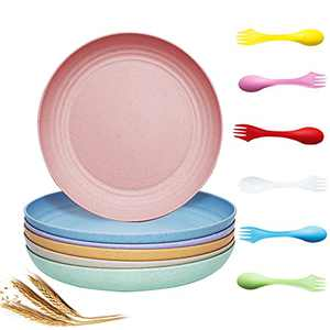 9 Inch Lightweight Unbreakable Wheat Straw Plates 6 Pack,SHECIPIN Deep Dinner Plates ,Reusable, Dishwasher & Microwave Safe Lightweight, Eco-Friendly Perfect For Kids, with Forks