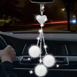 TOOVREN Cute Car Accessories Interior Bling Rear View Mirror Hanging Accessories Women Girly Heart Crystal White Plush Ball Charms Lucky Home Vehicle Pendant Decor Ornament DIY Crafts and More