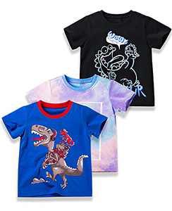 SYNPOS Baby Boy's Dinosaur Print T-Shirt, Tie Dye Short-Sleeve for 2-5T Boys, Boys Crewneck Tees, 100% Organic Cotton, 3-Pack