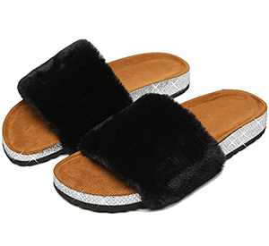 Womens Fuzzy House Slippers Fluffy Faux Fur Flat Slides Sandals for Indoor and Outdoor Black Size 7
