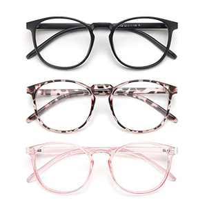 IBOANN 3 Pack Blue Light Blocking Glasses Women/Men, Round Fashion Retro Frame, Vintage Fake Eyeglasses with Clear Lens (Matte Black & Leopard & Clear Pink)